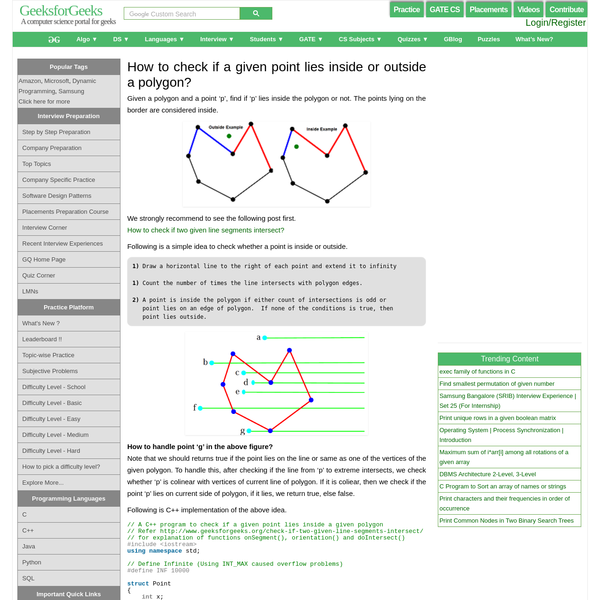 How to check if a given point lies inside or outside a polygon? - GeeksforGeeks