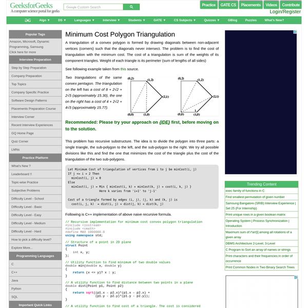 Minimum Cost Polygon Triangulation - GeeksforGeeks