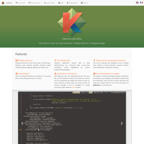 The official website of Kakoune, a vim inspired code editor