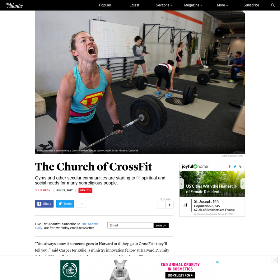 """""""You always know if someone goes to Harvard or if they go to CrossFit-they'll tell you,"""" said Casper ter Kuile, a ministry innovation fellow at Harvard Divinity School. """"It's really interesting that evangelical zeal they have. They want to recruit you."""""""