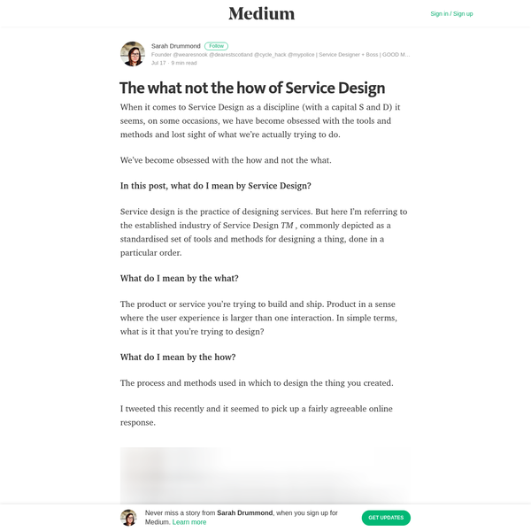 The what not the how of Service Design - Sarah Drummond - Medium