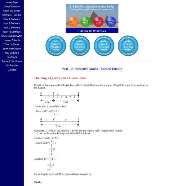 Dividing a Quantity in a Given Ratio