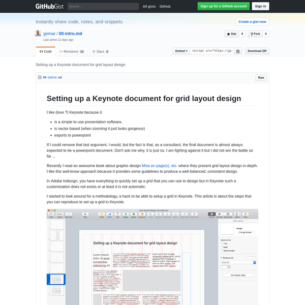 Setting up a Keynote document for grid layout design