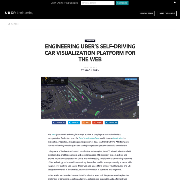 The (Advanced Technologies Group) at Uber is shaping the future of driverless transportation. Earlier this year, the Data Visualization Team -which uses visualization for exploration, inspection, debugging and exposition of data-partnered with the ATG to improve how its self-driving vehicles (cars and trucks) interpret and perceive the world around them.
