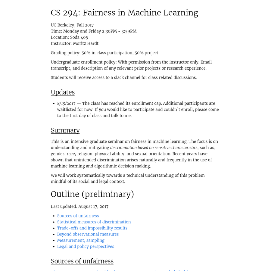 Fairness in Machine Learning