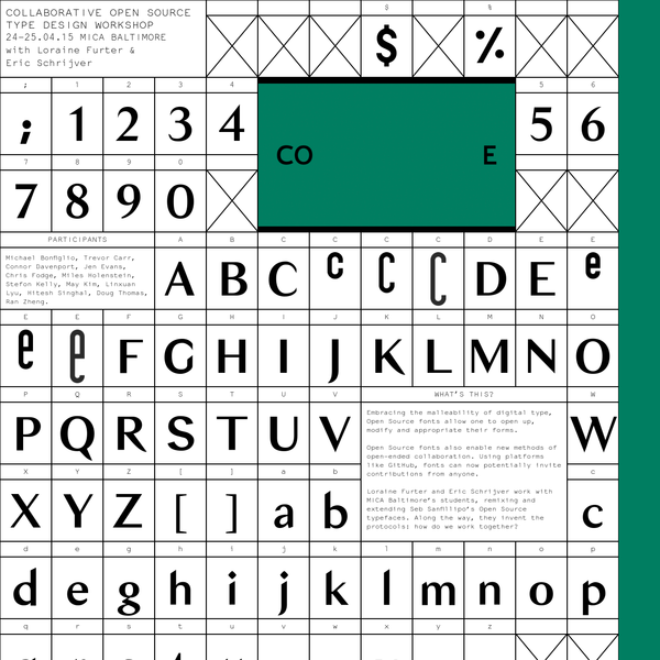 Embracing the malleability of digital type, Open Source fonts allow one to open up, modify and appropriate their forms. Loraine Furter and Eric Schrijver work with MICA Baltimore's students, remixing and extending Seb Sanfillipo's Open Source typefaces.