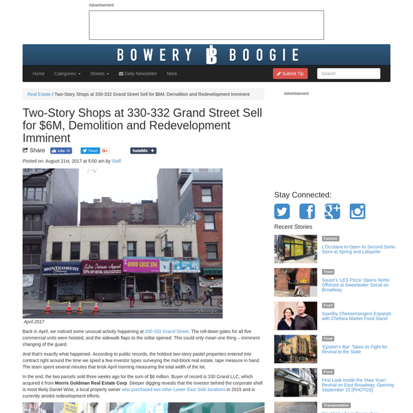 Two-Story Shops at 330-332 Grand Street Sell for $6M, Demolition and Redevelopment Imminent