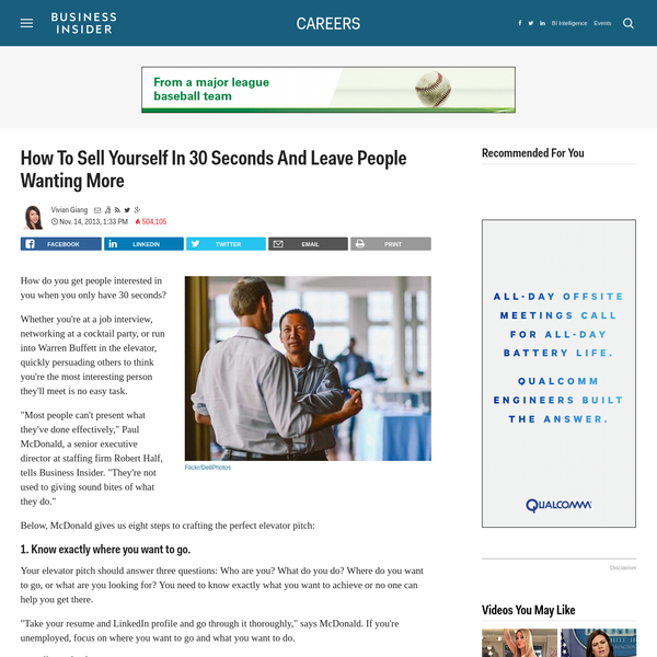 How To Sell Yourself In 30 Seconds And Leave People Wanting More