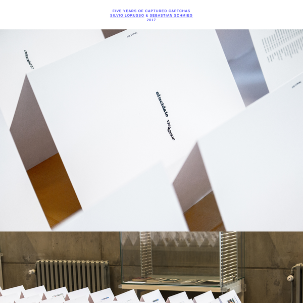 Five Years of Captured Captchas is a series of five leporello books that span a total length of 90 meters, chronicling every single captcha that we have solved over the course of five years.