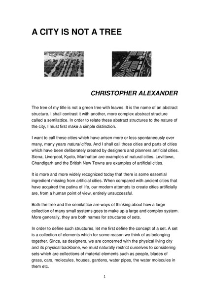 """Alexander, Christopher_""""A City is not a Tree"""""""