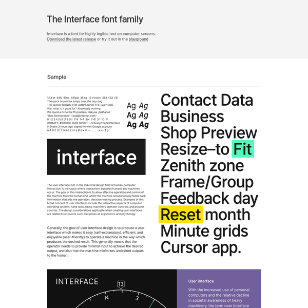 Interface is a new typeface optimized for high legibility on computer screens