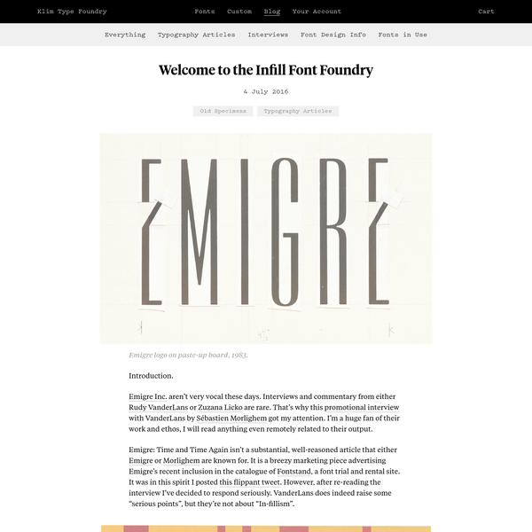 Klim Type Foundry · Welcome to the Infill Font Foundry
