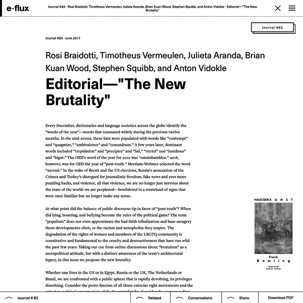 """Editorial-""""The New Brutality"""" - Journal #83 June 2017 - e-flux"""