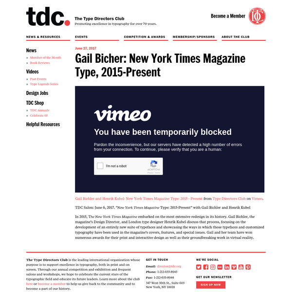 """Gail Bichler and Henrik Kubel: New York Times Magazine Type: 2015 - Present from Type Directors Club on Vimeo. TDC Salon: June 6, 2017. """" New York Times Magazine Type: 2015-Present"""" with Gail Bichler and Henrik Kubel In 2015, T he New York Times Magazine embarked on the most extensive redesign in its history."""