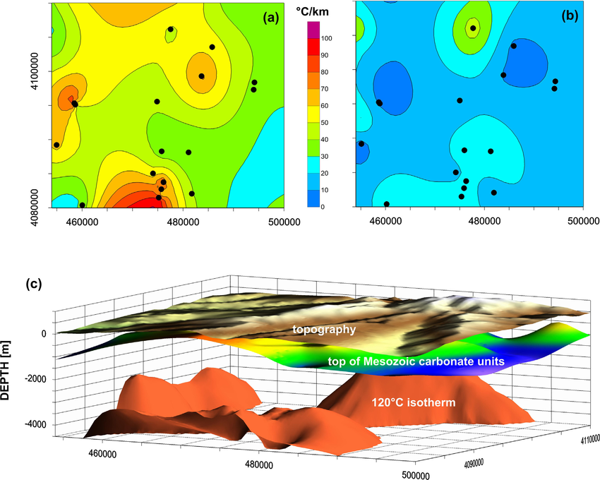 Fig-4-Sketch-map-of-geothermal-gradient-patterns-a-in-sedimentary-cover-and-b-in.jpg