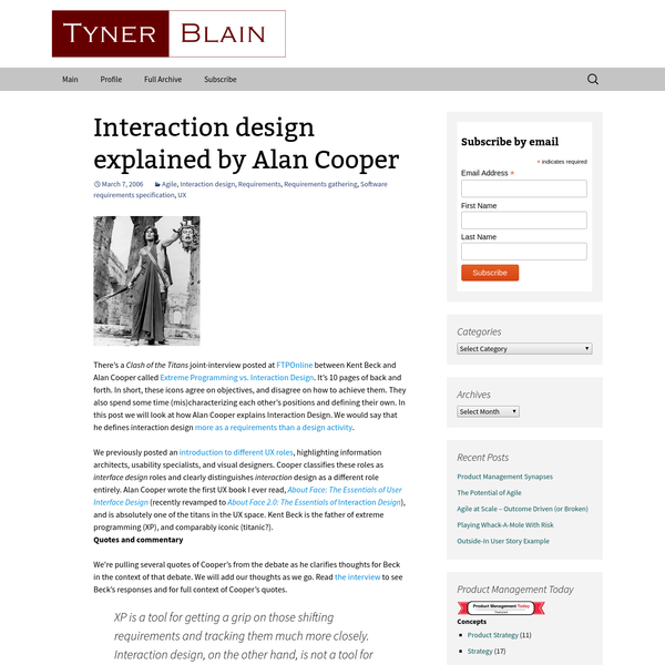 There's a Clash of the Titans joint-interview posted at FTPOnline between Kent Beck and Alan Cooper called Extreme Programming vs. Interaction Design. It's 10 pages of back and forth. In short, these icons agree on objectives, and disagree on how to achieve them. They also spend some time (mis)characterizing each other's positions and defining their own.