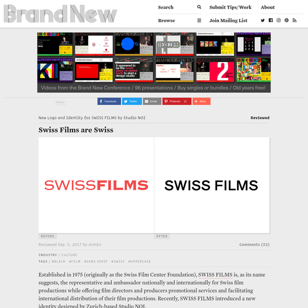 Established in 1975 (originally as the Swiss Film Center Foundation), SWISS FILMS is, as its name suggests, the representative and ambassador nationally and internationally for Swiss film productions while offering film directors and producers promotional services and facilitating international distribution of their film productions. Recently, SWISS FILMS introduced a new identity designed by Zurich-based Studio NOI.