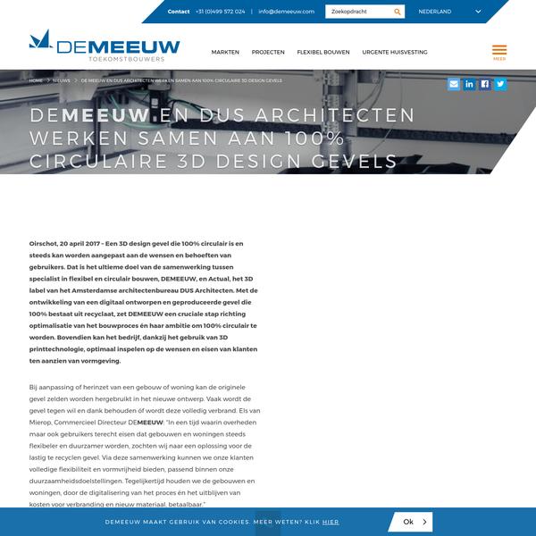 Nieuws | De Meeuw en DUS Architecten werken samen aan 100% circulaire 3D design gevels