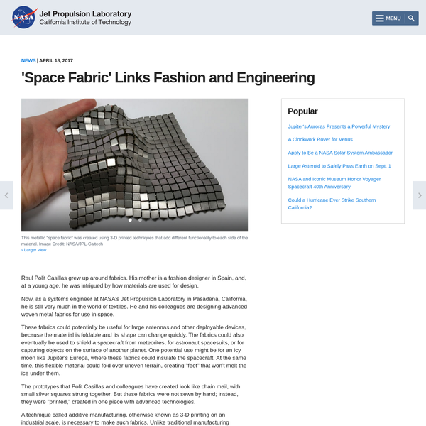 'Space Fabric' Links Fashion and Engineering