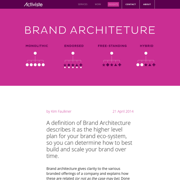 Brand architecture gives clarity to the various branded offerings of a company and explains how these are related (or not as the case may be). Done well, it promotes efficiency, and gives coherence and discipline to how brands should be managed at a macro-level.