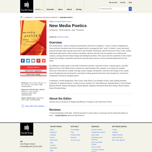 The first collection of writings on poetry that is composed, disseminated, and read on computers; essays and artist statements explore visually arresting, aurally charged, and dynamic works that are created by a synergy of human beings and intelligent machines.