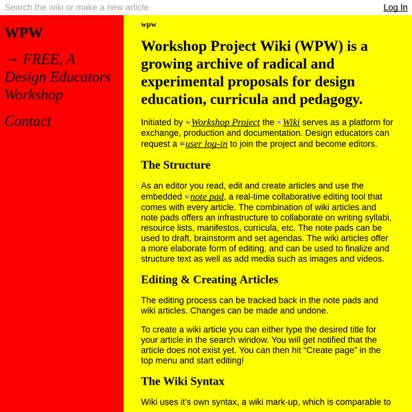 wpw * Workshop Project Wiki