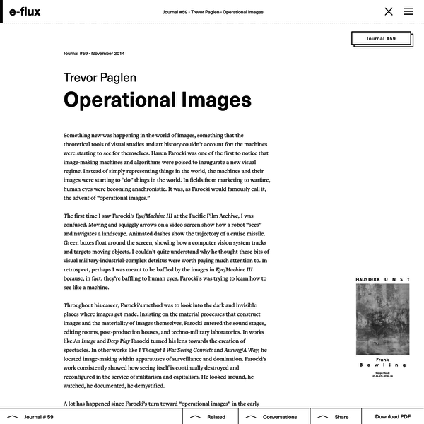 My research project didn't get very far. After scores of phone calls and emails to the laboratories and companies where operational images get made, it became clear that machines rarely even bother making the meat-eye interpretable versions of their operational images that we saw in Eye/Machine. There's really no point.
