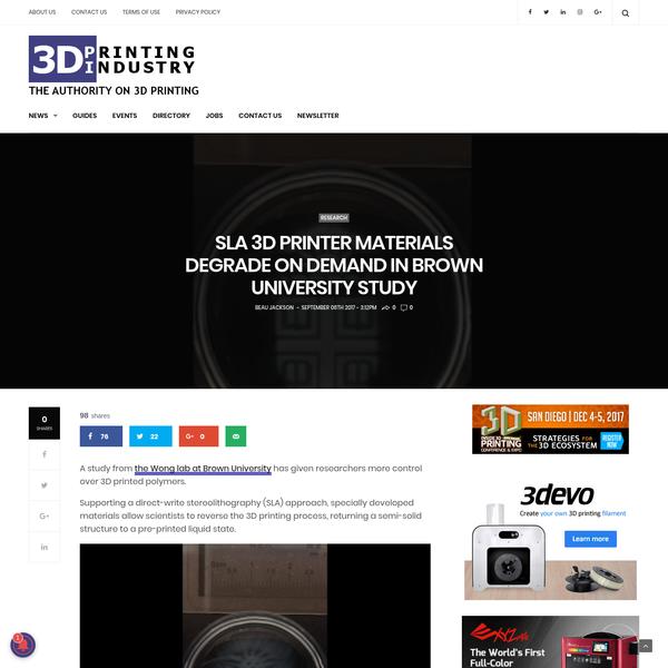 SLA 3D printer materials degrade on demand in Brown University study