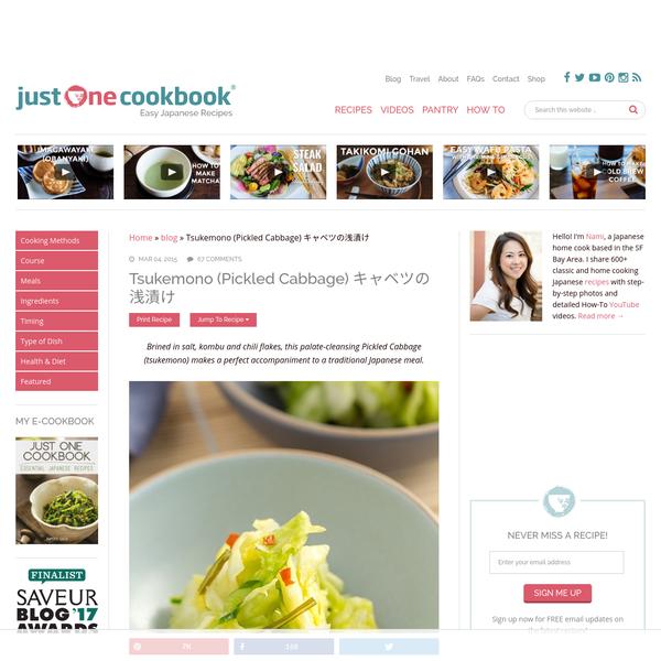 Tsukemono (Pickled Cabbage) キャベツの浅漬け - Just One Cookbook