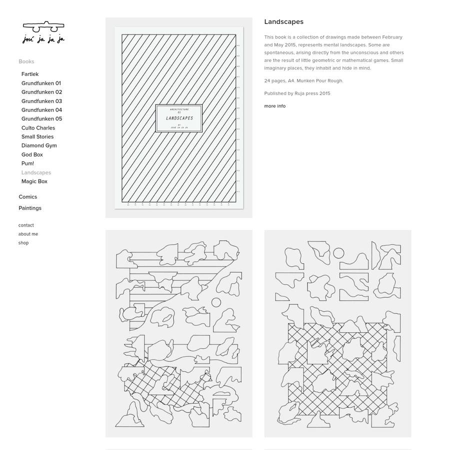 This book is a collection of drawings made between February and May 2015, represents mental landscapes. Some are spontaneous, arising directly from the unconscious and others are the result of little geometric or mathematical games. Small imaginary places, they inhabit and hide in mind.