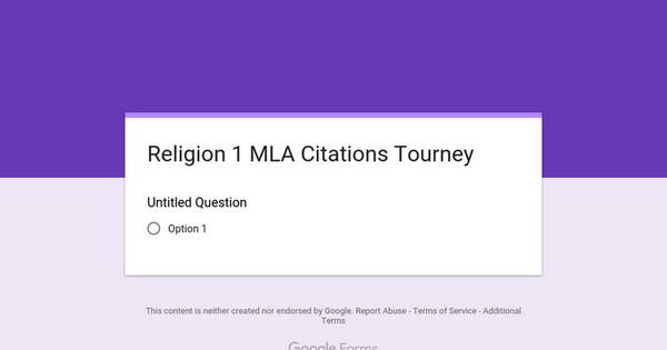 Religion 1 MLA Citations Tourney