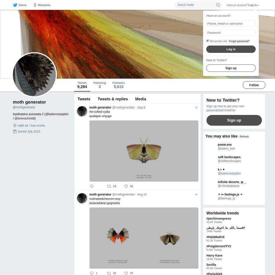The latest Tweets from moth generator (@mothgenerator). lepidoptera automata // (@katierosepipkin / @lorenschmidt). night air / tree trunks