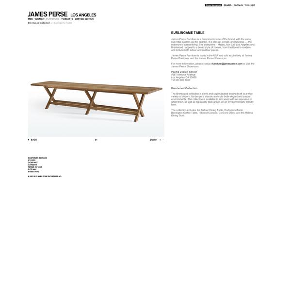 BURLINGAME TABLE - FURNITURE - James Perse - BURLINGAME_TABLE