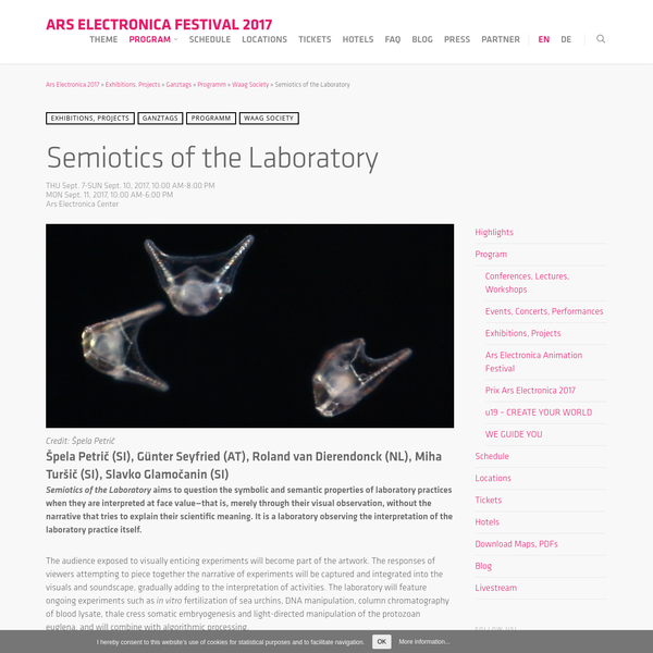 Semiotics of the Laboratory aims to question the symbolic and semantic properties of laboratory practices when they are interpreted at face value-that is, merely through their visual observation, without the narrative that tries to explain their scientific meaning. It is a laboratory observing the interpretation of the laboratory practice itself.