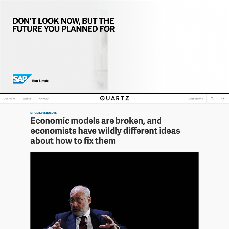 """Ten years after the global financial crisis, economists are still puzzling over how they (mostly) failed to predict such a massive crash. Given all the data and experience at their disposal, how did they miss something so consequential? In a new paper (pdf) entitled """"Where Modern Macroeconomics Went Wrong,"""" Nobel laureate Joseph Stiglitz of Columbia University lays..."""