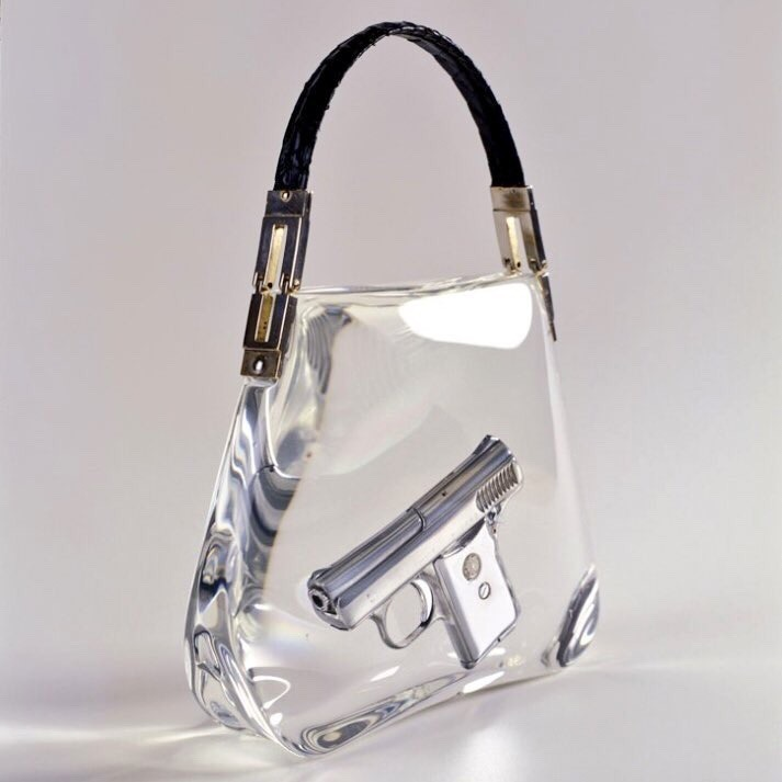 Ted Noten — SuperBitch Bag, 2000  (Gun Casted in Acrylic, Snake-Skin Handle)