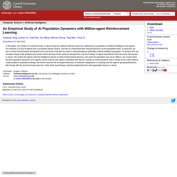 Abstract: In this paper, we conduct an empirical study on discovering the ordered collective dynamics obtained by a population of artificial intelligence (AI) agents. Our intention is to put AI agents into a simulated natural context, and then to understand their induced dynamics at the population level.