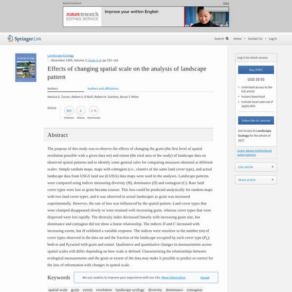 Effects of changing spatial scale on the analysis of landscape pattern