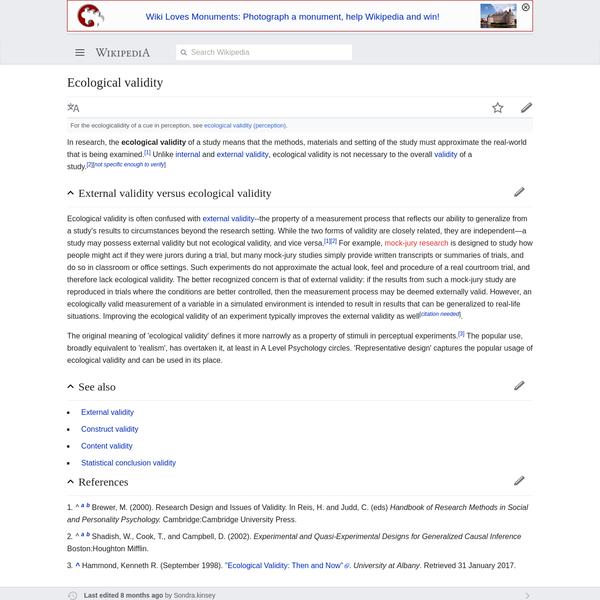 Ecological validity - Wikipedia