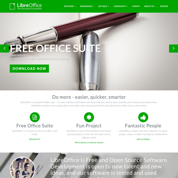 Welcome to the official website of the LibreOffice project: the office suite the community has been dreaming for years. Download the latest version now.