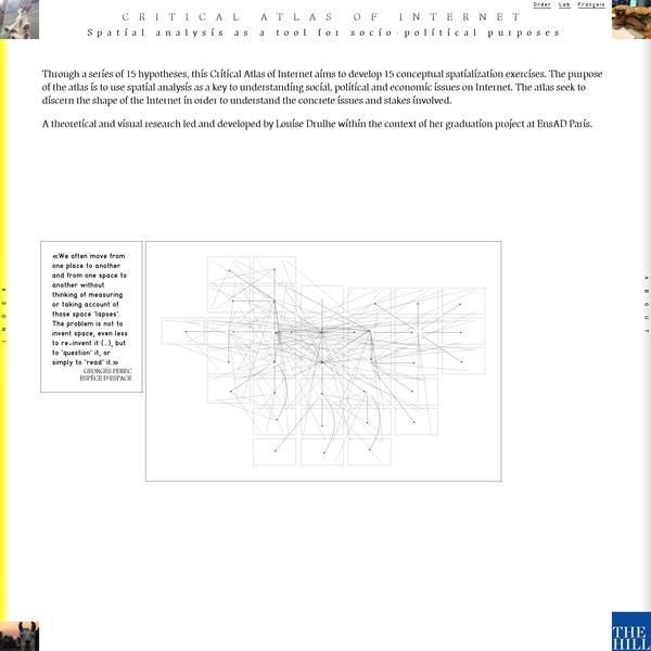 Sous la forme d'une série d'hypothèses, l'atlas critique d'Internet développe 15 exercices conceptuels de spatialisation d'Internet. L'objectif de cet Atlas est d'utiliser l'analyse spatiale comme clé de comprehension des enjeux sociaux, politiques et économiques présents sur Internet. Tenter d'en cerner les contours nous permettra d'en comprendre les enjeux.