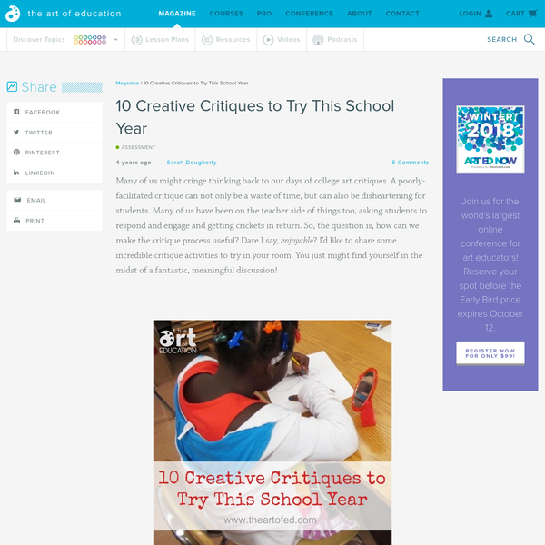 10 Creative Critiques to Try This School Year - The Art of Ed
