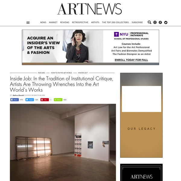 Inside Job: In the Tradition of Institutional Critique, Artists Are Throwing Wrenches Into the Art World's Works | ARTnews