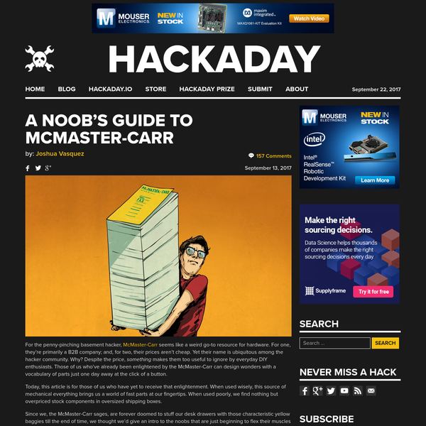For the penny-pinching basement hacker, McMaster-Carr seems like a weird go-to resource for hardware. For one, they're primarily a B2B company; and, for two, their prices aren't cheap. Yet their name is ubiquitous among the hacker community. Why? Despite the price, something makes them too useful to ignore by everyday DIY enthusiasts.