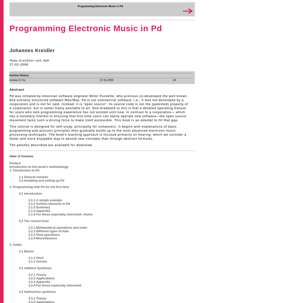 """Pd was initiated by American software engineer Miller Puckette, who previous co-developed the well known and similarly structured software Max/Msp. Pd is not commercial software; i.e., it was not developed by a corporation and is not for sale. Instead, it is """"open source"""": its source code is not the (patented) property of a corporation, but is rather freely available to all."""