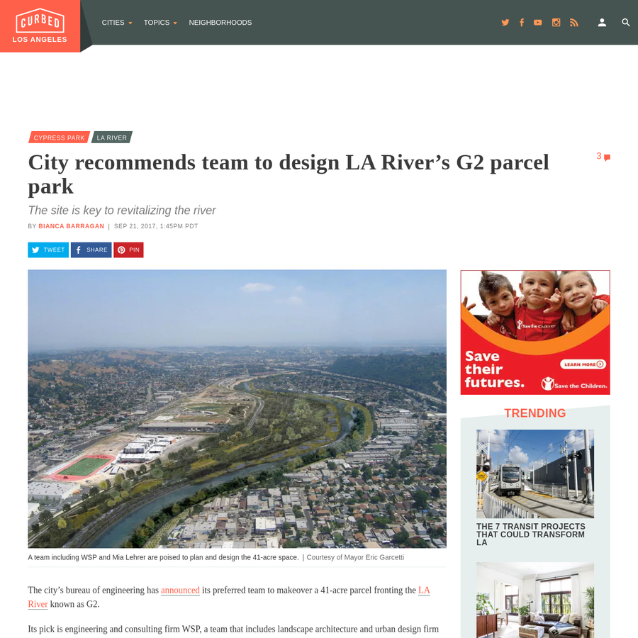 The city's bureau of engineering has announced its preferred team to makeover a 41-acre parcel fronting the LA River known as G2. Its pick is engineering and consulting firm WSP, a team that includes landscape architecture and urban design firm Mia Lehrer + Associates and the nonprofit Mujeres de la Tierra, a public health and wellness-oriented organization based in Cypress Park.