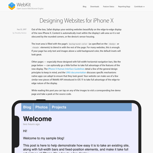 Out of the box, Safari displays your existing websites beautifully on the edge-to-edge display of the new iPhone X. Content is automatically inset within the display's safe area so it is not obscured by the rounded corners, or the device's sensor housing.