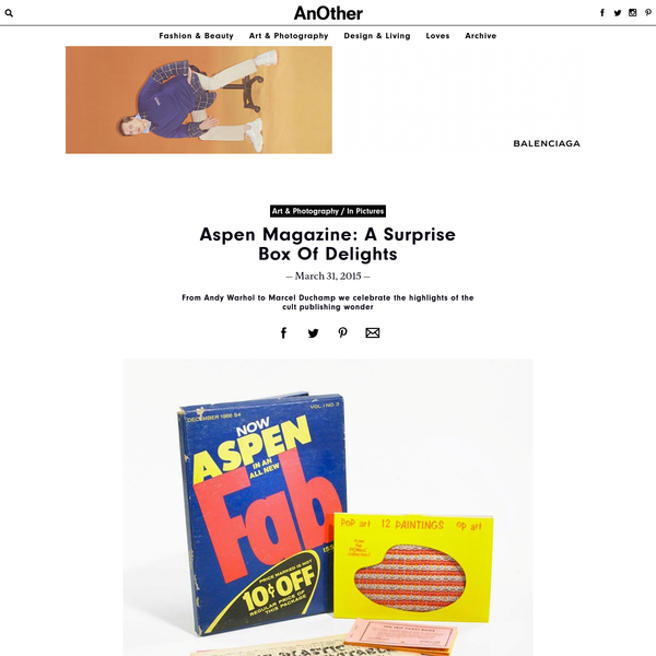 The first three-dimensional Magazine in a Box, Aspen was brought to life by Phyllis Johnson, a former editor at Women's Wear Daily and Advertising Age, while on vacation in the ski resort town of Aspen, Colorado in 1965.
