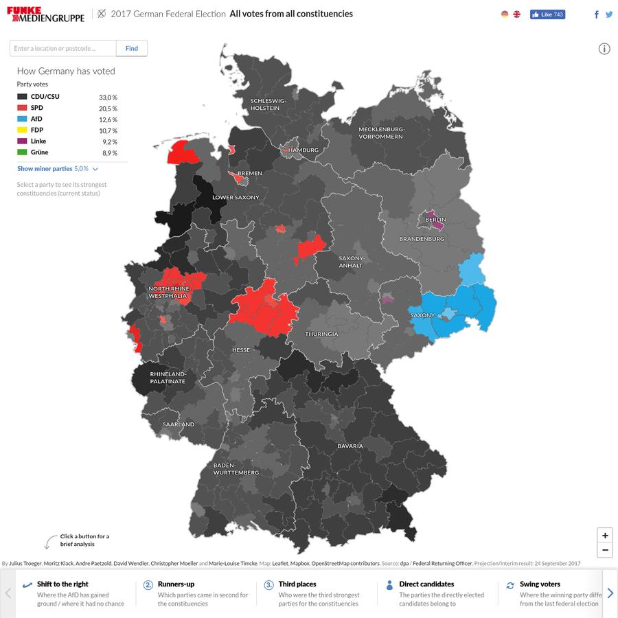 Die Live-Karte der Berliner Morgenpost zeigt die Auszählung der 299 Wahlkreise mit Sofort-Analysen von Wechselwählern bis Rechtsruck.