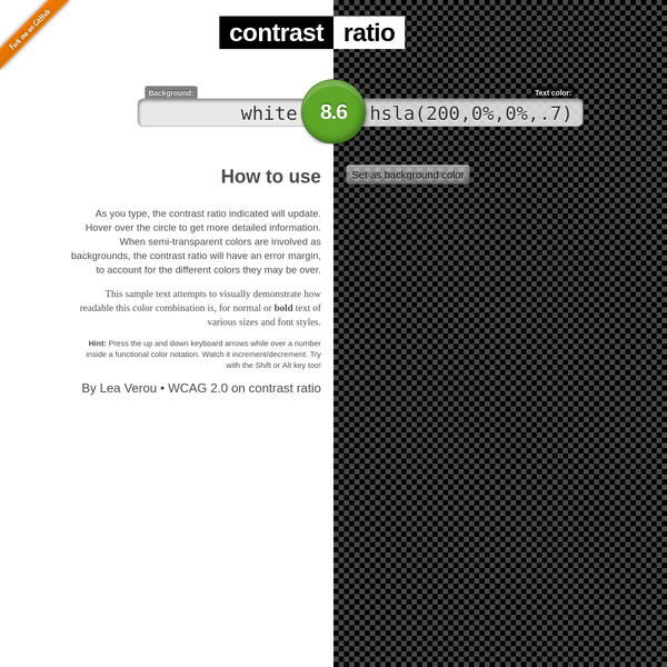 Contrast Ratio: Easily calculate color contrast ratios. Passing WCAG was never this easy!